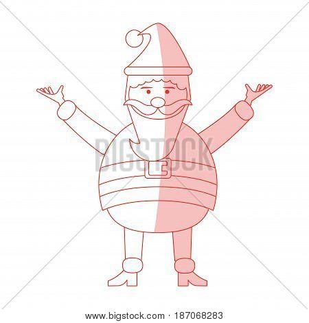 red shading silhouette cartoon full body fat santa claus modern with long beard vector illustration