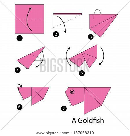 step by step instructions how to make origami A Gold fish.