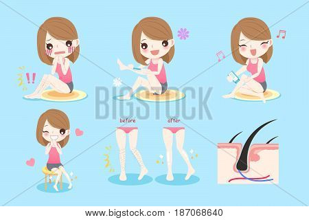 cute cartoon woman with leg hair problem before and after
