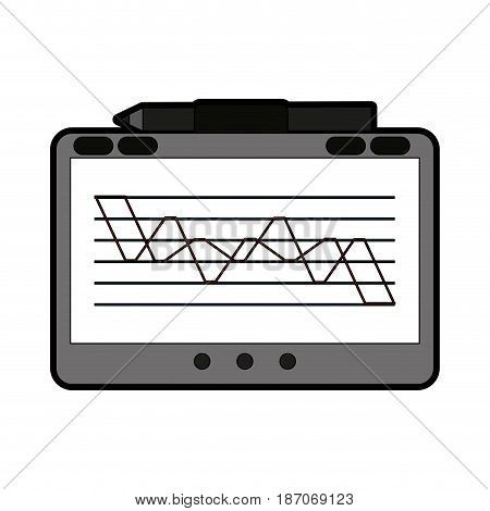 tablet with graph on screen icon image vector illustration design