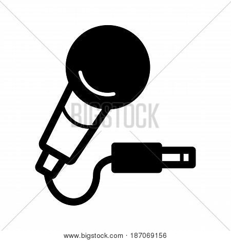 microphone with cord, vector icon. Isolated on white. eps 10