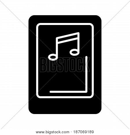 Isolated tablet screen with music player symbol on white background. Concept of audio playback, multimedia, stream. Music device, eps 10