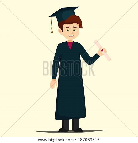 graduate with diploma. cartoon boy wearing a gown and cap holding a diploma. student graduate, vector illustration in flat style isolated from the background
