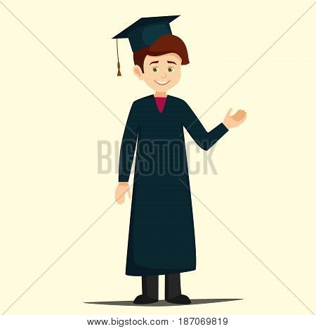 student graduation.graduate dressed in a robe and cap pointing at something.cartoon student in academic clothes in flat style vector illustration isolated from background