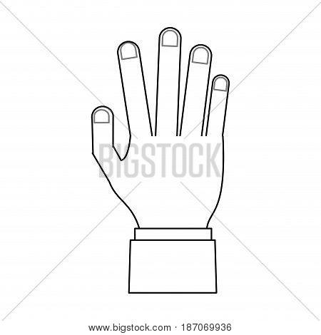 open hand icon image vector illustration design  single black line