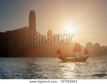 Traditional Chinese Wooden Sailing Ship In Victoria Harbor