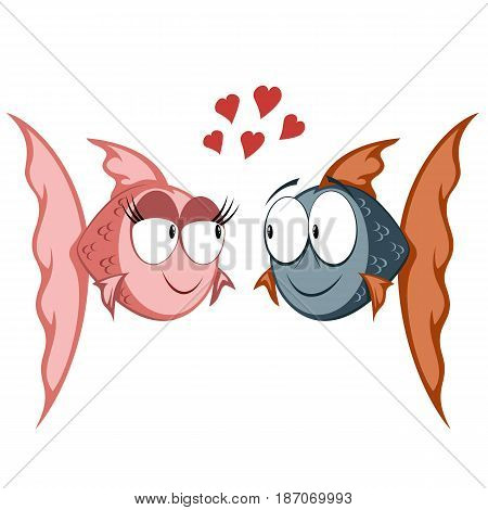 Cool cartoon goldfish couple in love (with hearts)