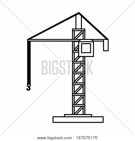 construction crane icon image vector illustration design  single black line
