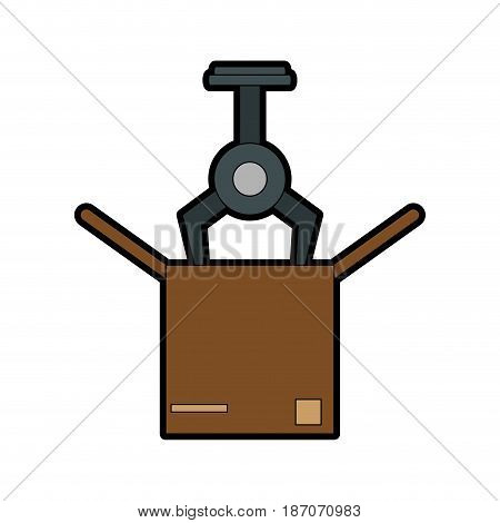 assembly line industrial machine icon image vector illustration design