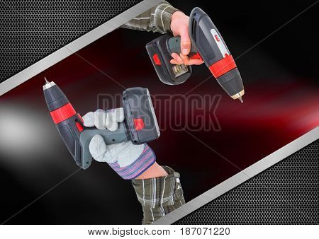 Digital composite of hands with drills with red and metal background