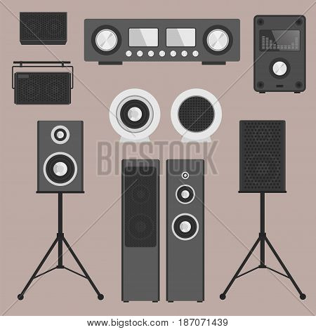 Home sound system stereo flat vector music loudspeakers player receiver subwoofer remote equipment technology illustration. Professional media entertainment tool.