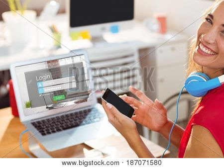 Digital composite of Happy woman in the work with laptop and phone. The screen of the laptop is login