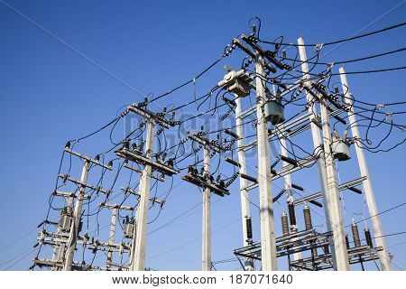 Electrical power poles in The electricity needed to power an electric pole. We use a lot of electricity and power it up. Whether electric poles transformers and electrical cables all.