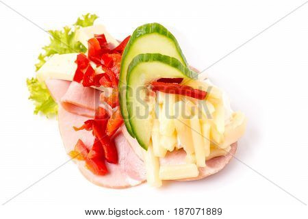 Danish specialties and national dishes high-quality open sandwich isolated on white background