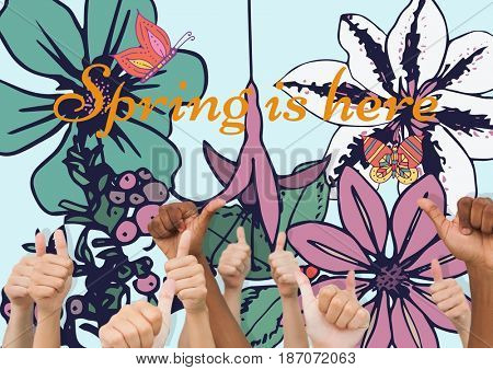 Digital composite of Thumbs up spring