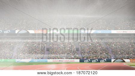 Digital composite of Composite image of athletics stadium