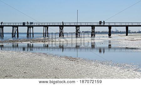 Semaphore beach jetty reflection South Australia sea