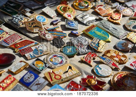 Tver Russia - may 07.2017. Trade badge of the times of the USSR