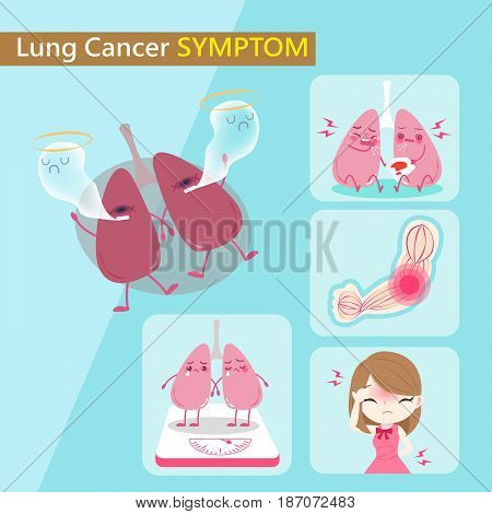 lung and cancer symptom with healthy concept