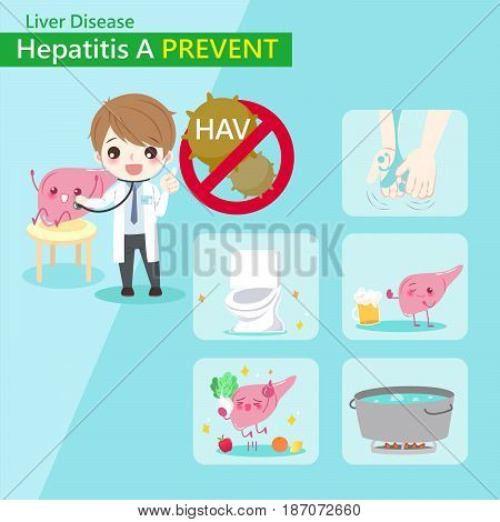 cute cartoon doctor with hepatitis A prevent concept