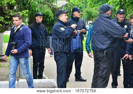 Kharkov, Ukraine - May 17, 2017: Ukrainian Policemen Who Provide Security To Lgbt Activists And Prot