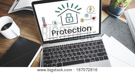 Illustration of smart house invention automation technology on laptop