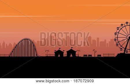 Silhouette park at the sunset scenery vector art