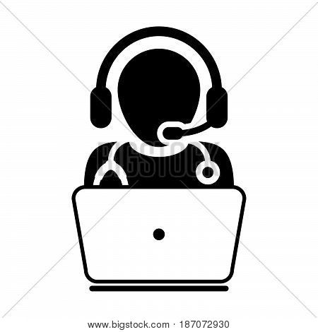 Doctor Icon - Flat Vector, Physician Avatar Symbol With Laptop and   Wearing Headset for On-line Consultation for Advice and Support   Service for Patient in Glyph Pictogram illustration