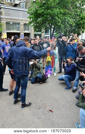 Kharkov, Ukraine - May 17, 2017: The Organization Of Ukrainian Nazis And Patriots Of The