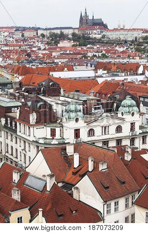 View from Old Town Hall on Prague cityscape Czech Republic Europe