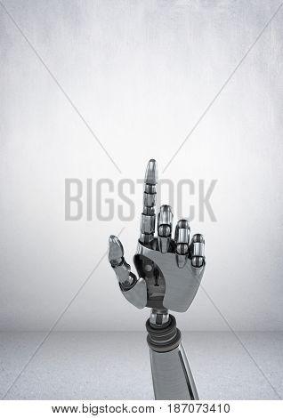 3d Digital composite of  Robot hand pointing with grey background