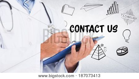 Digital composite of Doctor mid section with clipboard against contact doodles and white wall