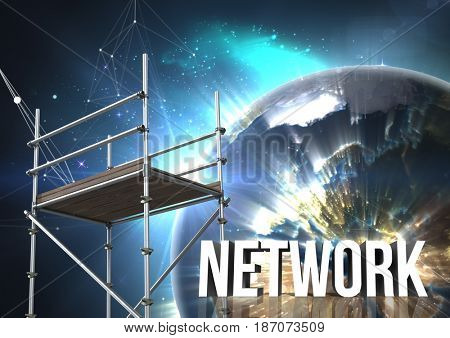 Digital composite of Network Text with 3D Scaffolding and planet earth interface