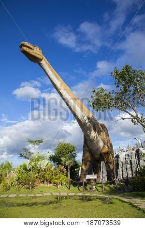 20 September 2016 At the Dinosaur park Dannok Sadao District Songkhla in Thailand opening hours 10.00 am. - 10.00 pm. In the morning have sunrise and blue sky make it beautiful.