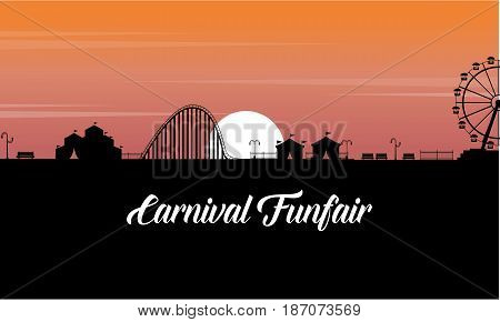 Carnival funfair scenery at sunset silhouette vector art