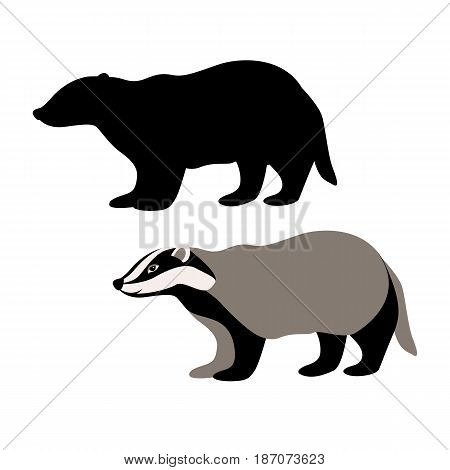 badger vector illustration style Flat black silhouette