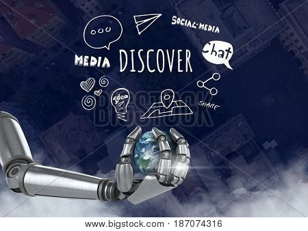 Digital composite of hand holding planet earth over city with Discover text with drawings graphics