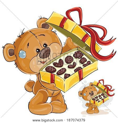 Vector illustration of a brown teddy bear treats with chocolate candies. Print, template, design element