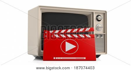 Vintage television and movie clapper isolated on white background. 3d illustration