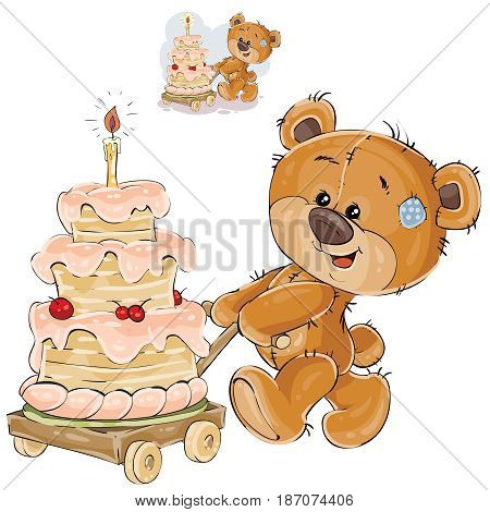 Vector illustration of a brown teddy bear rolling a cart with a birthday cake. Print, template, design element