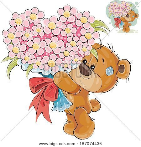 Vector illustration of a brown teddy bear holding in its paws a bouquet of flowers in the shape of a heart. Print, template, design element