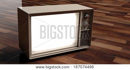 Vintage Tv On Wooden Background. 3D Illustration