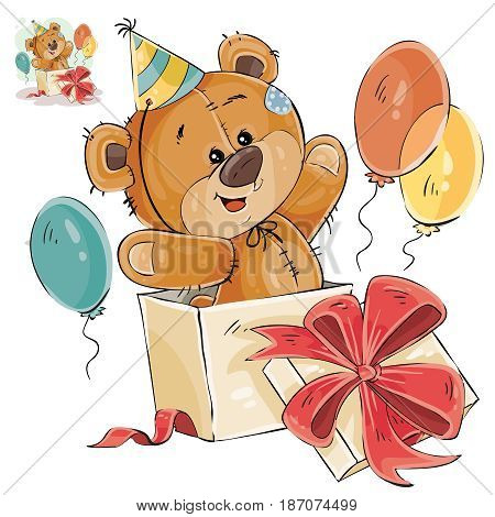 Vector illustration of a brown teddy bear peeking out of a gift box. Print, template, design element