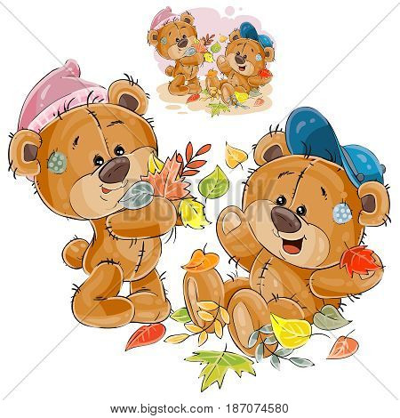 Vector illustration of two brown teddy bears playing with fallen leaves. Print, template, design element