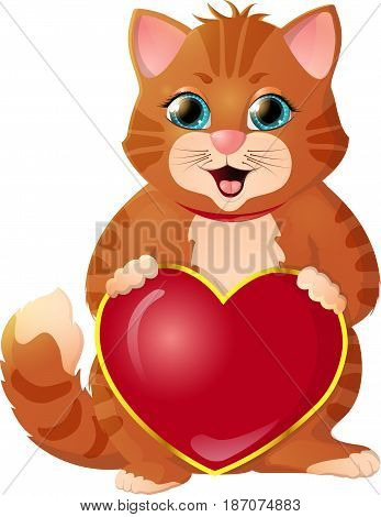 Ginger, smiling kitten. Congratulations on Valentine's Day