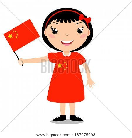 Smiling child, girl, holding a China flag isolated on white background. Cartoon mascot. Holiday illustration to the Day of the country, Independence Day, Flag Day.