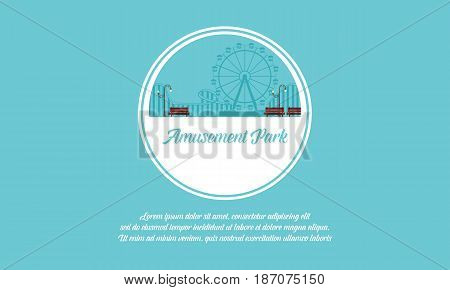 Vector art amusement park background collection stock