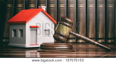 Wooden Auction Or Judge Gavel, A Small House And Books. 3D Illustration