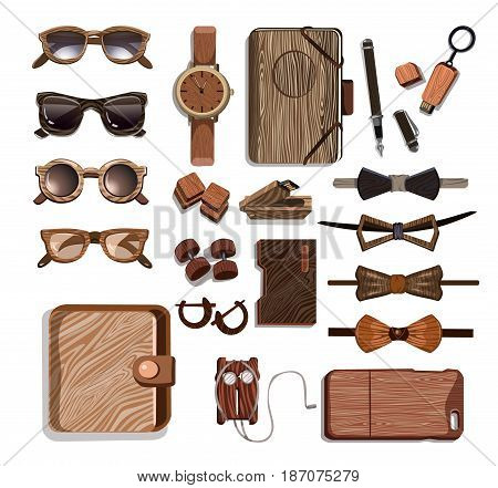 Wooden fashionable hipster accessories set with sunglasses clock usb flash cases headphones bow ties pen dumbbells isolated vector illustration