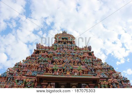 The Sri Ranganathaswamy Temple or Thiruvarangam is a Hindu temple dedicated to Ranganatha, a reclining form of the Hindu deity Vishnu, located in Srirangam, Tiruchirapalli, Tamil Nadu, India